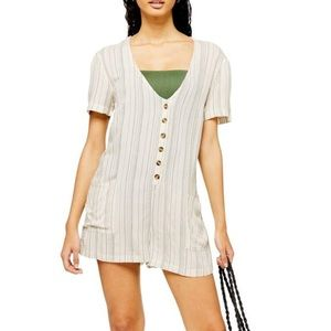 NWT Topshop Cream and Grey Striped Romper